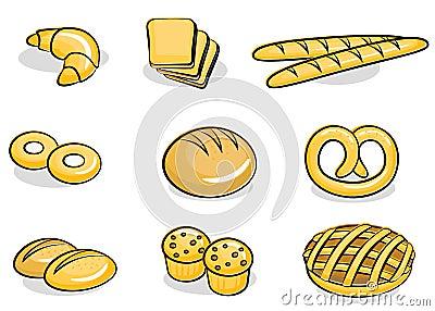 Conjunto del icono de la panadería