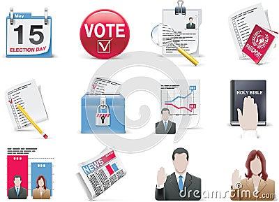 Conjunto del icono de la votación y de la elección