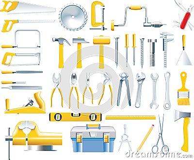 Conjunto del icono de las herramientas del carpintero del - Herramientas de carpinteria nombres ...