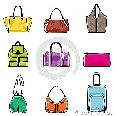 Conjunto del icono de los bolsos