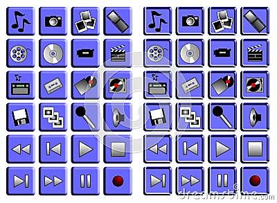 Conjunto del icono de los multimedia
