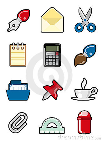 Conjunto del icono de los objetos de la oficina im genes for Objetos decorativos para oficina