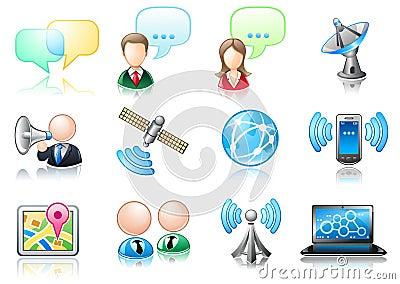Conjunto del icono del tema de la comunicación