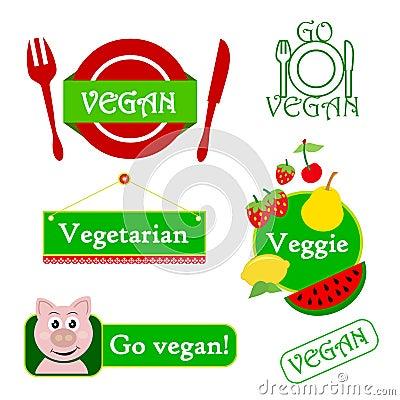 Conjunto del icono del vegano