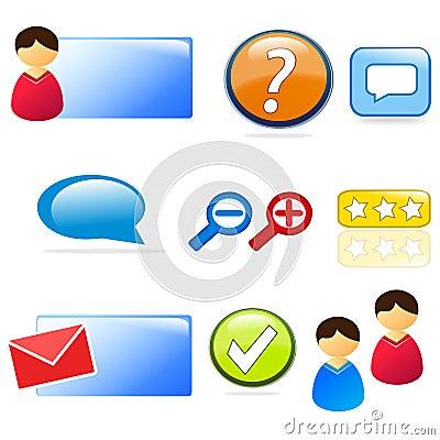 Conjunto del icono del Web site y de la atención al cliente