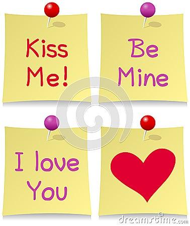 Conjunto del post-it del día de tarjetas del día de San Valentín