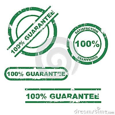 Conjunto del sello de la garantía del 100