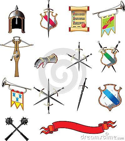 Conjunto medieval del icono del arma