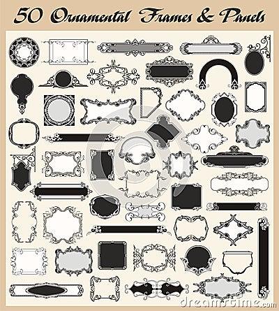 Conjunto ornamental del vector de los marcos y de los paneles de la vendimia