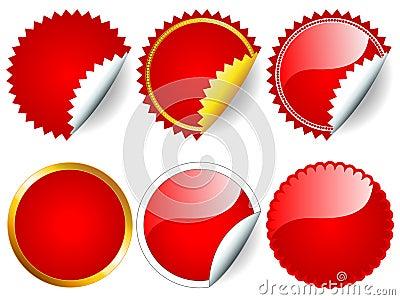 Conjunto rojo de la etiqueta engomada