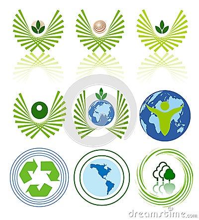 Conjunto verde del icono de la energía