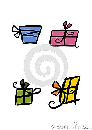 Conjuntos coloridos del regalo