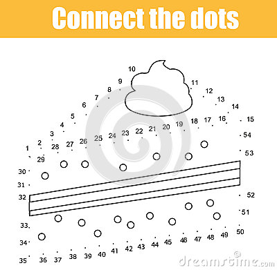 Connect the dots by numbers children educational game. Printable worksheet activity. Food theme. Drawing cake Vector Illustration