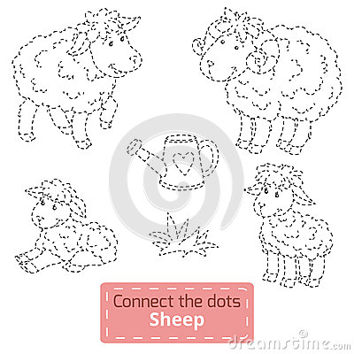 Free Connect The Dots (farm Animals Set, Sheep Family) Royalty Free Stock Photos - 55061708