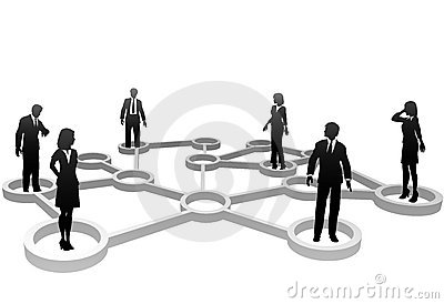 Connected business people in network