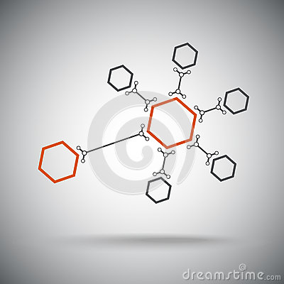 Hexagonal connection. Orange