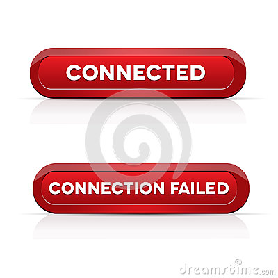 Connected - Connection failed red buttons