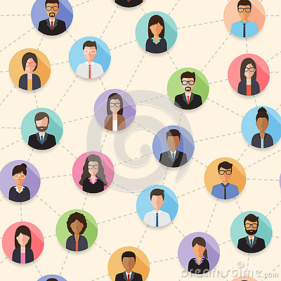 Connected people seamless pattern Vector Illustration
