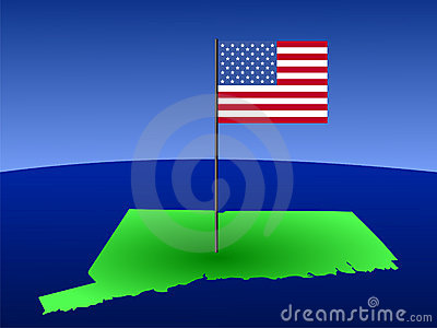 Connecticut with American Flag