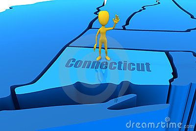 Connecticut state outline with yellow stick figure
