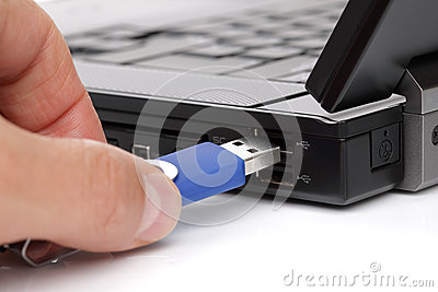 Connecting USB flash memory stick