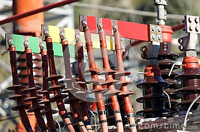 Connectors copper Busbar and poles of a transformer of a powerho