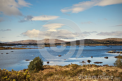 Connemara mountains and lake in Ireland