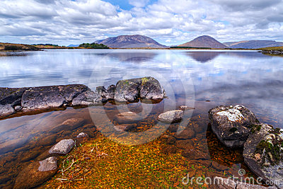Connemara mountains reflected in lake