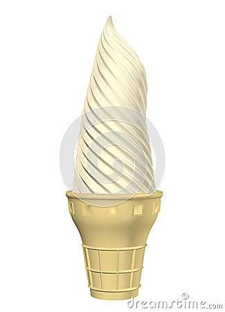 Cono della vaniglia su bianco