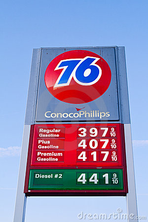 Conoco Phillips 76 Gas Station Fuel Prices Sign Editorial Stock Photo