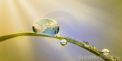 Conservation concept:earth in a droplet