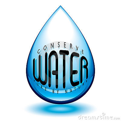 Water droplet icon in blue with conserve message and shadow.
