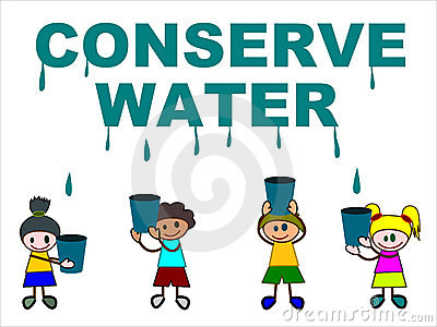 Cartoon kids trying to catch dripping water by their buckets. Keywords: