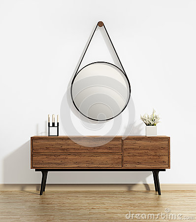 Free Console Table With Captain S Round Mirror Stock Photo - 53676170
