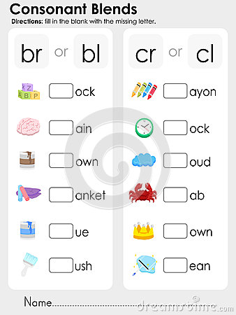 math worksheet : consonant blends worksheet for kids stock vector  image 45519480 : Blend Worksheets Kindergarten