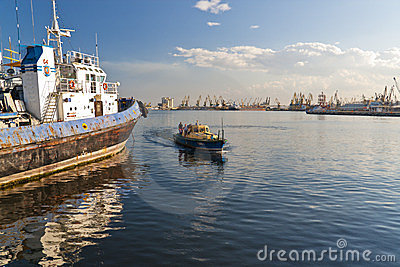 Constanta port bay view Editorial Stock Image