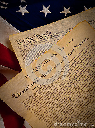 Constitution and Declaration on a flag
