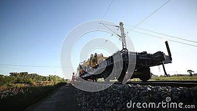 Construcción y transformación del transporte ferroviario almacen de metraje de vídeo