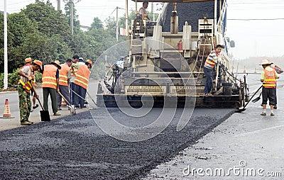 Construcción de carreteras Foto de archivo editorial