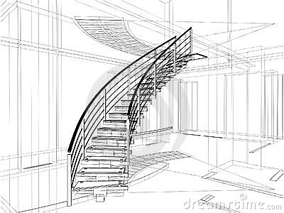 Construcciones abstractas de las escaleras espirales de la línea