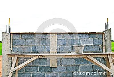 Construct brick block wall .