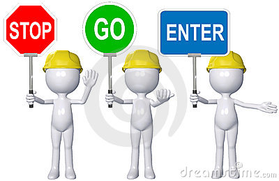 Construction 3D person STOP GO ENTER signs