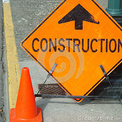 Free Construction Ahead Sign Stock Photos - 26402863