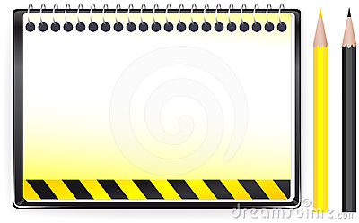 construction background with notepad and penci
