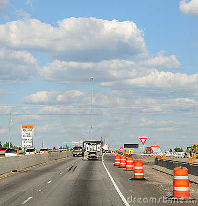 Free Construction Barrels Along The Interstate Highway Stock Image - 5580341