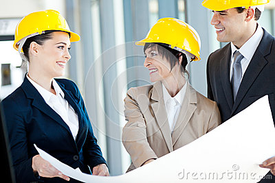 Construction businesspeople interacting