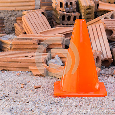 Free Construction Cone In Construction Site Stock Images - 49003384