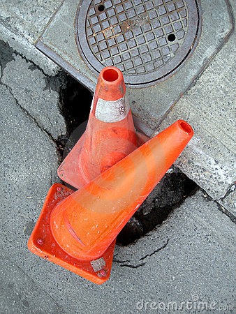 Free Construction Cone - Street Big Hole Royalty Free Stock Photo - 5798315