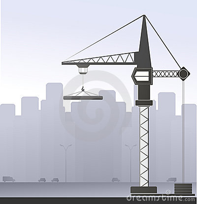 Construction crane in big city