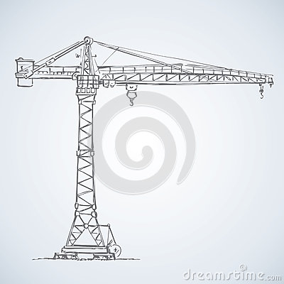 Free Construction Crane. Vector Drawing Royalty Free Stock Image - 56353176